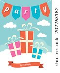 three gift boxes in blue  pink...   Shutterstock .eps vector #202268182