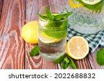 cold natural lemonade in glass...   Shutterstock . vector #2022688832