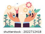 hands holding team of tiny...   Shutterstock .eps vector #2022712418