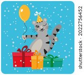 cute gray cat with a balloon... | Shutterstock .eps vector #2022756452