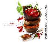 red hot chili peppers with... | Shutterstock . vector #202280758
