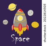 space composition with rockets...   Shutterstock .eps vector #2022814505