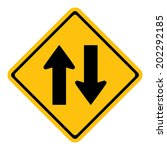 warning two way traffic sign   Shutterstock .eps vector #202292185