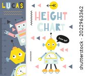 kids height ruler with cute...   Shutterstock .eps vector #2022963362