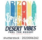 Arizona rainbow color t shirt design. Desert vibes brush paint artwork for appeal and others.