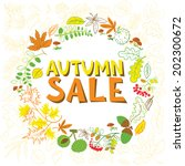 autumn sale poster with wreath... | Shutterstock .eps vector #202300672