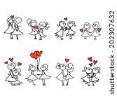 hand drawing cartoon concept... | Shutterstock .eps vector #202307632