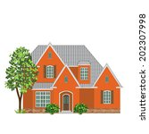 brick family house  and tree on ... | Shutterstock .eps vector #202307998