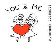 hand drawing cartoon concept... | Shutterstock .eps vector #202308715