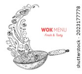 wok pan and ingredients for wok ... | Shutterstock .eps vector #2023177778