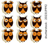 set of 12 owls with different... | Shutterstock .eps vector #202319992