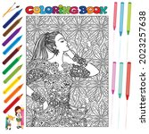 pretty girl coloring book for... | Shutterstock .eps vector #2023257638