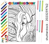 pretty girls coloring book for... | Shutterstock .eps vector #2023259762