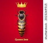realistic bee queen mother with ... | Shutterstock .eps vector #2023269515