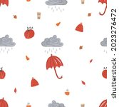 seamless pattern with leaf fall ...   Shutterstock .eps vector #2023276472