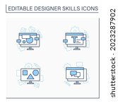 designer skills line icons set. ...