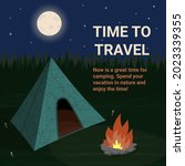 time to travel. camping tent...   Shutterstock .eps vector #2023339355