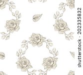 hand drawn roses wreath... | Shutterstock . vector #202335832