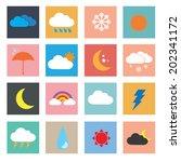 weather icon set vector... | Shutterstock .eps vector #202341172