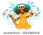 funny cartoon tiger with... | Shutterstock .eps vector #2023485518