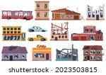 abandoned damaged broken ruined ... | Shutterstock .eps vector #2023503815