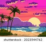 sunset ocean tropical resort... | Shutterstock .eps vector #2023544762