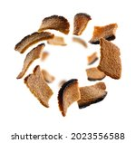 rye croutons levitate on a...   Shutterstock . vector #2023556588