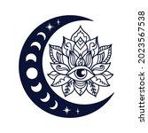 half moon and lotus flower...   Shutterstock .eps vector #2023567538