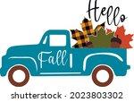 fall truck with pumpkin svg... | Shutterstock .eps vector #2023803302