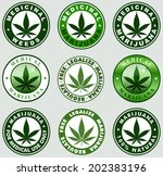 Set of Medical / medicinal marijuana labels. Cannabis leaf silhouette symbols. - stock vector