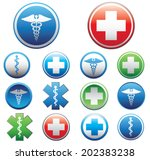 set of medical symbols. vector... | Shutterstock .eps vector #202383238
