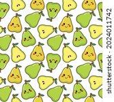 cute kawaii sweet pear seamless ... | Shutterstock .eps vector #2024011742