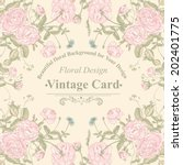 vector floral greeting card... | Shutterstock .eps vector #202401775