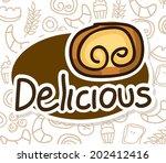 bakery design over pattern... | Shutterstock .eps vector #202412416