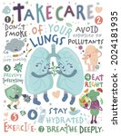 take care of your lungs....   Shutterstock .eps vector #2024181935