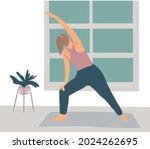 a girl does yoga at home  a... | Shutterstock .eps vector #2024262695