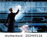 rear view of businesswoman...   Shutterstock . vector #202445116
