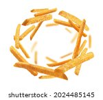 french fries levitate on a...   Shutterstock . vector #2024485145