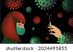 pandemic. sad girl amid the... | Shutterstock .eps vector #2024495855