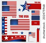 collection of american flags ... | Shutterstock .eps vector #202475968