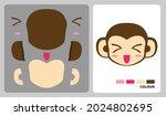 monkey head pattern for kids...   Shutterstock .eps vector #2024802695