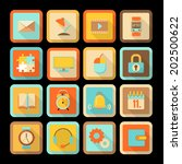 set of flat colorful icons with ...