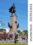 Small photo of LIPETSK, RUSSIA - MAY 8, 2012: Peter the Great Monument and Chapel of Peter and Paul. The monument by sculptors Vyacheslav Klykov and Alexander Wagner was unveiled on October 29, 1996.