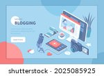 video blogging. making video... | Shutterstock .eps vector #2025085925