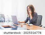 business woman is sitting at...   Shutterstock . vector #2025316778