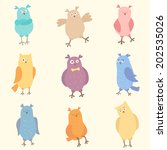 set of bright funny owls. nine... | Shutterstock .eps vector #202535026