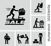 pushing shopping cart | Shutterstock .eps vector #202536436