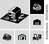 warehouse forklift delivery... | Shutterstock .eps vector #202536442