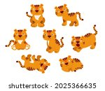 set  a collection of tigers in... | Shutterstock .eps vector #2025366635