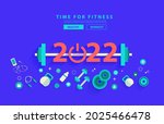 happy new year 2022 fitness... | Shutterstock .eps vector #2025466478